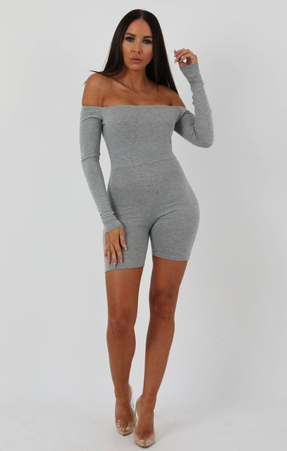 Grey Long Sleeve Bardot Playsuit - Lana