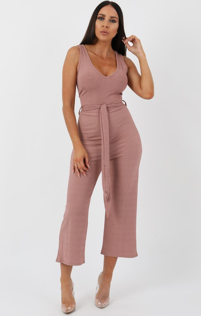 Rose Metallic Ribbed Plunge Culotte Jumpsuit - Gisella jumpsuits FemmeLuxe