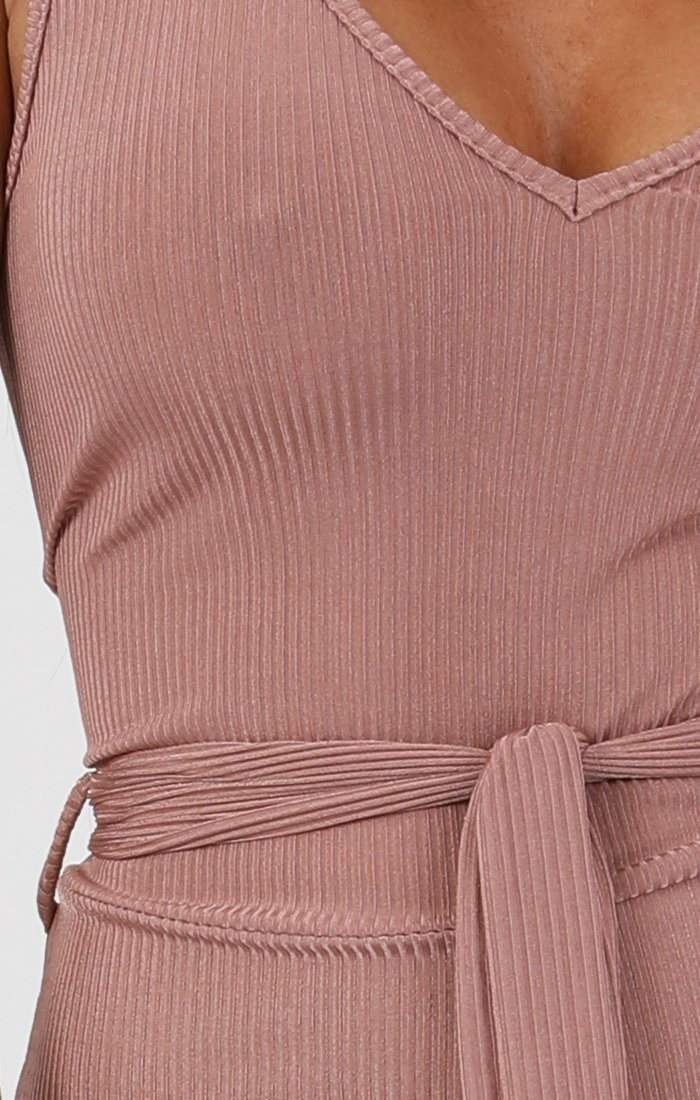 Rose Metallic Ribbed Plunge Culotte Jumpsuit - Gisella