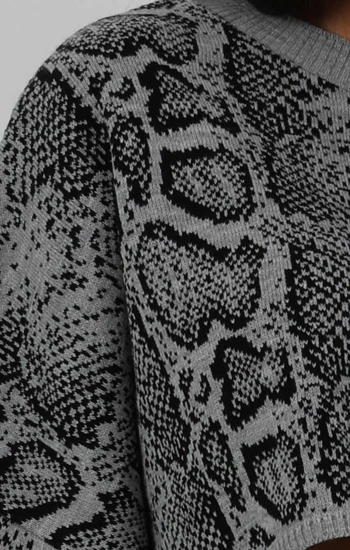 Grey Animal Snake Print Long Sleeve Crop Jumper - Sienna
