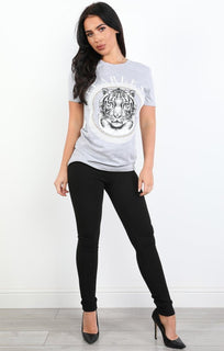 Grey Fearless Slogan Tiger T-shirt - Elsa
