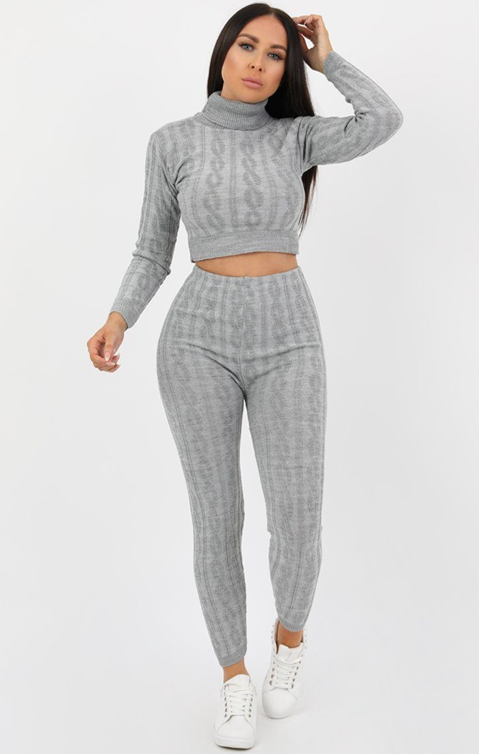 Grey Cable Knit Polo Neck Co-Ord Set - Parmis