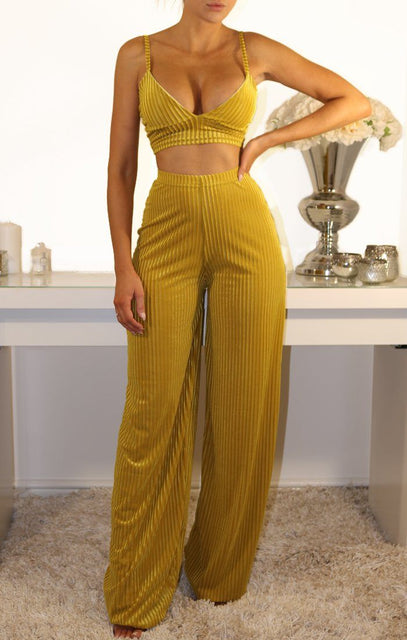 Mustard Velvet Striped Two Piece Co-ord Set