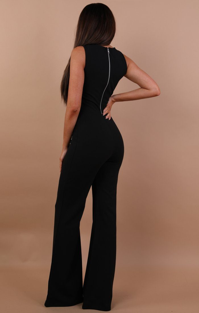 Black Cut Out Wide Leg Jumpsuit - Lynn