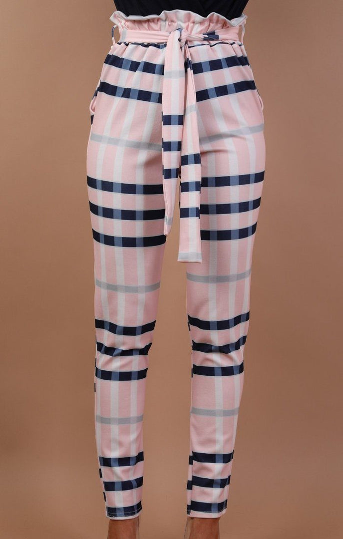 Nude Check Paper Bag Trousers - Dolly