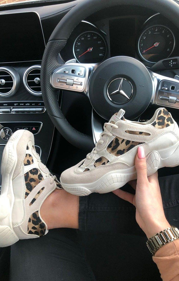 Beige Animal Leopard Print Trainers - Kat