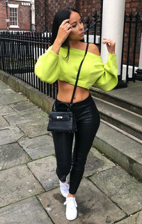 Lime Oversized Crop Knit Jumper - Toni