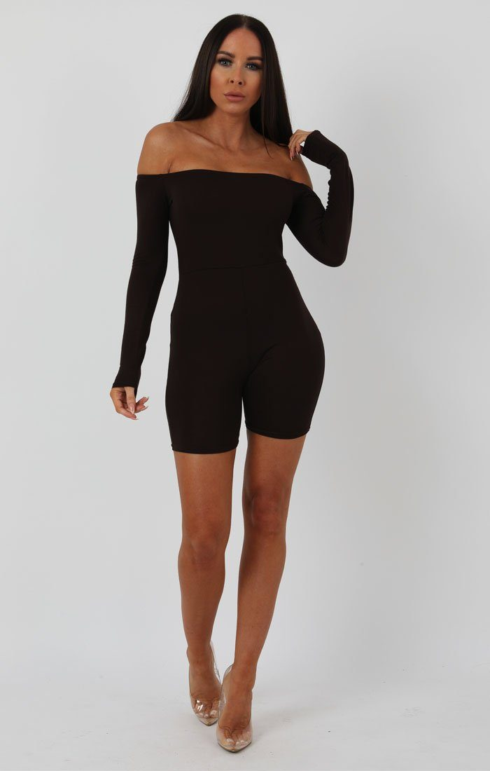 Brown Long Sleeve Bardot Playsuit - Lana