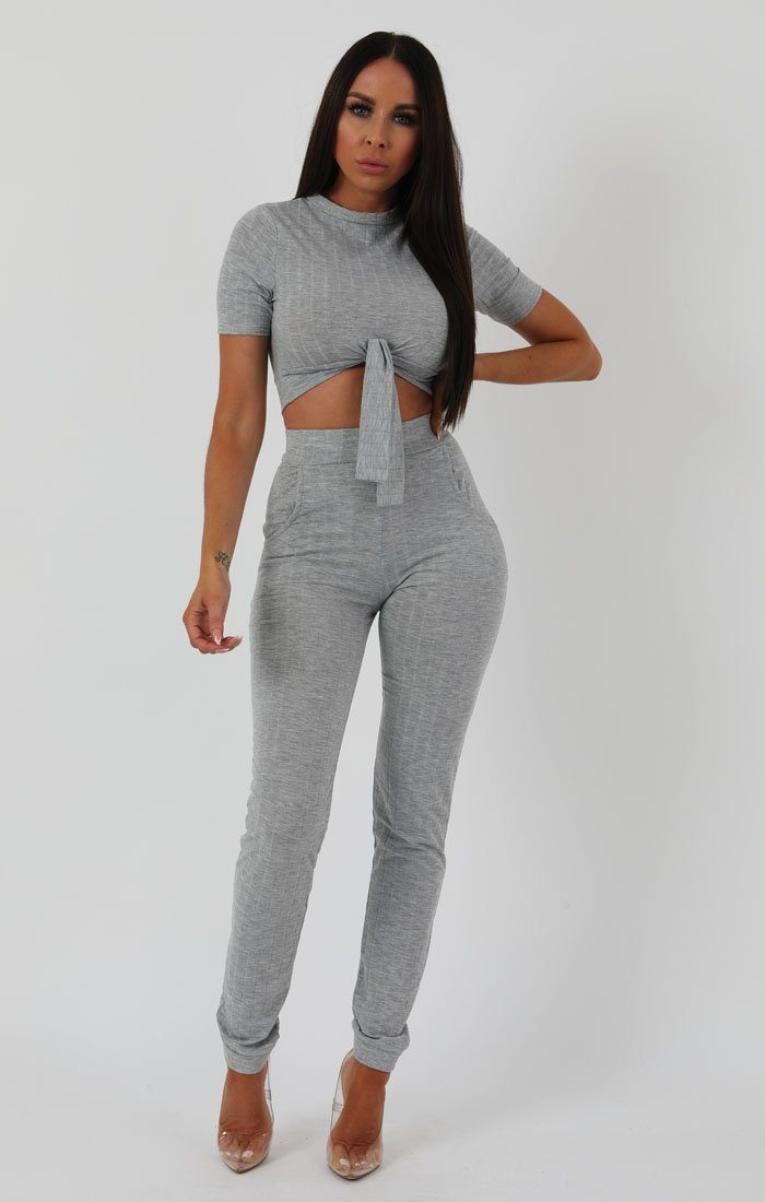 Grey Crop Ribbed Tie Loungewear - Penny
