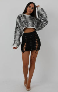 White Animal Snake Print Long Sleeve Crop Jumper - Sienna Jumpers FemmeLuxe