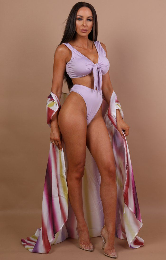 Lilac Multicolour Three Piece Swimwear Set - Chlo