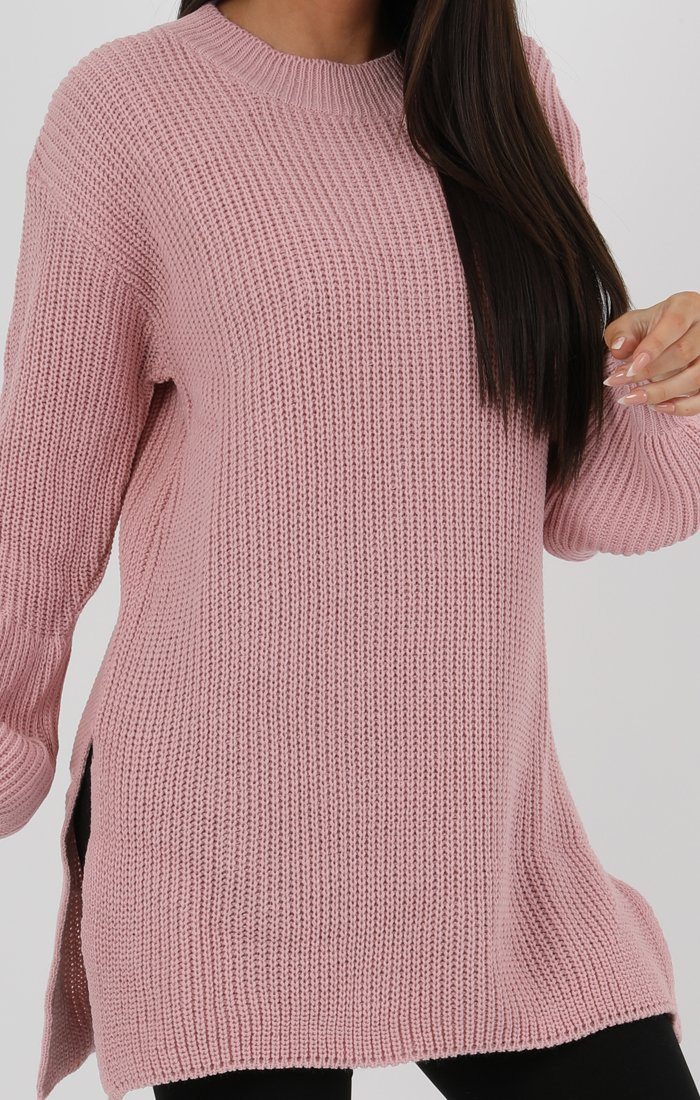 Rose Oversized Split Side Knitted Jumper - Cat