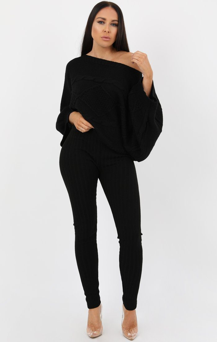 Black Bardot Cable Knit Oversized Jumper - Melanie