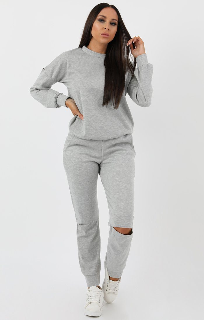 Grey Boxy Ripped Knee Loungewear Set - Bobbie