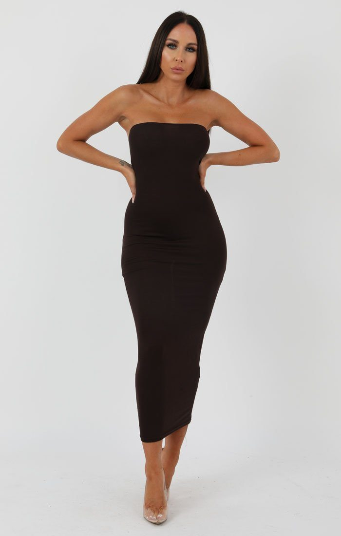 Brown Bandeau Bodycon Midi Dress - Ariana