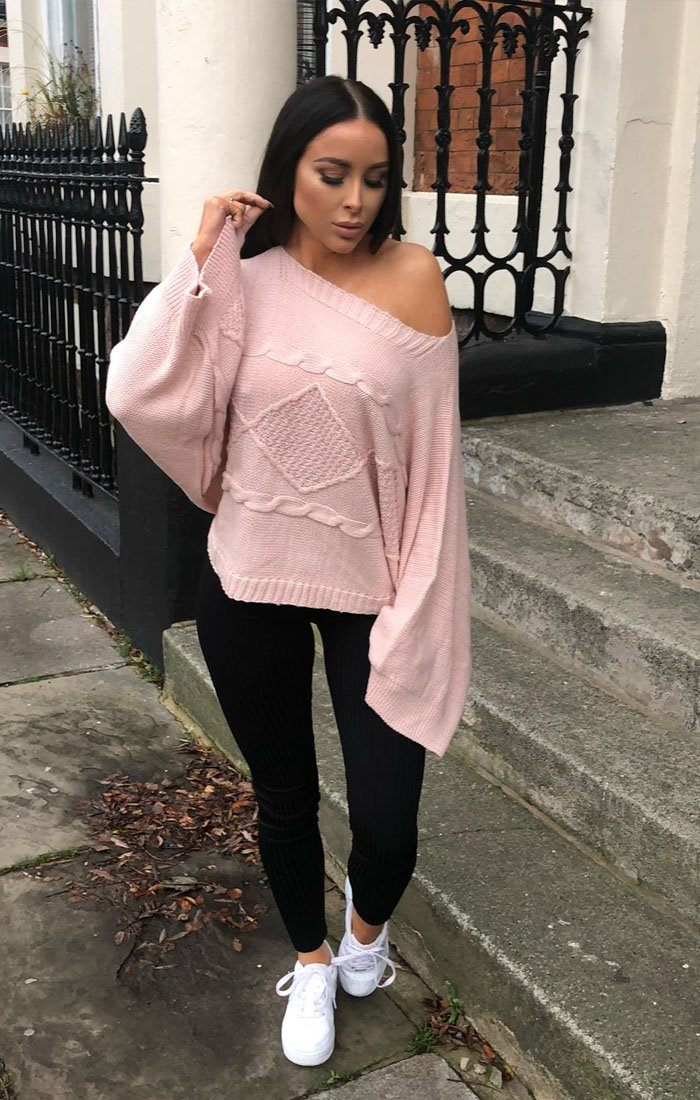 Rose Bardot Cable Knit Oversized Jumper - Melanie