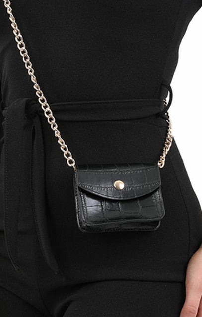 Black Animal Croc Print Micro Mini Bag - Xanthe