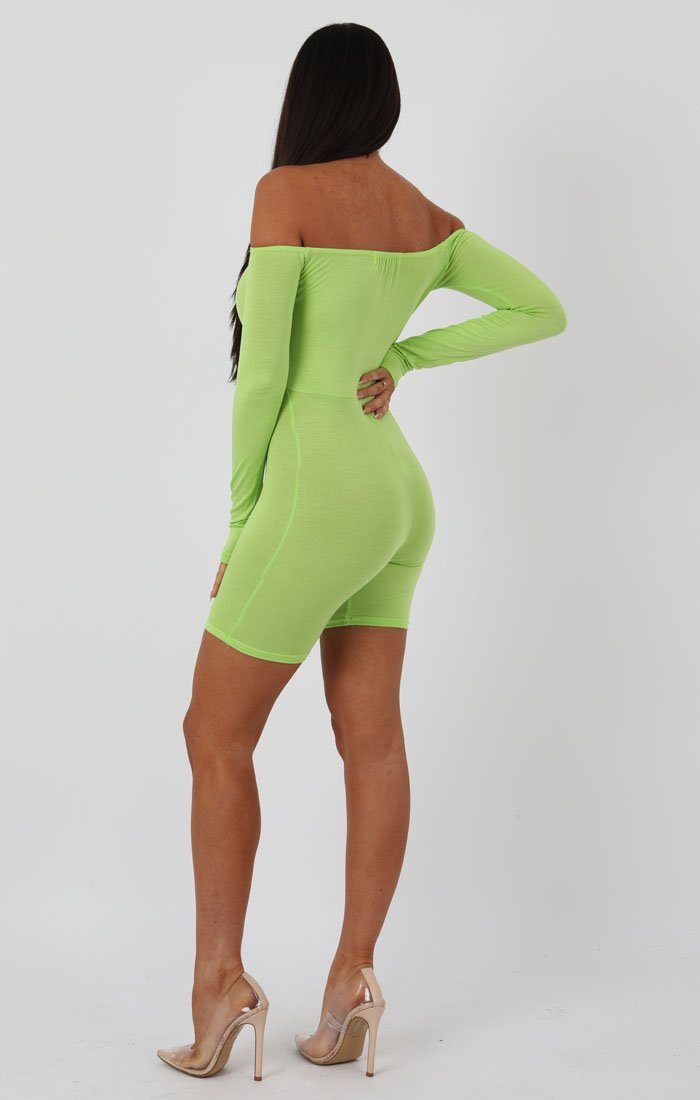 Lime Long Sleeve Bardot Playsuit - Lana