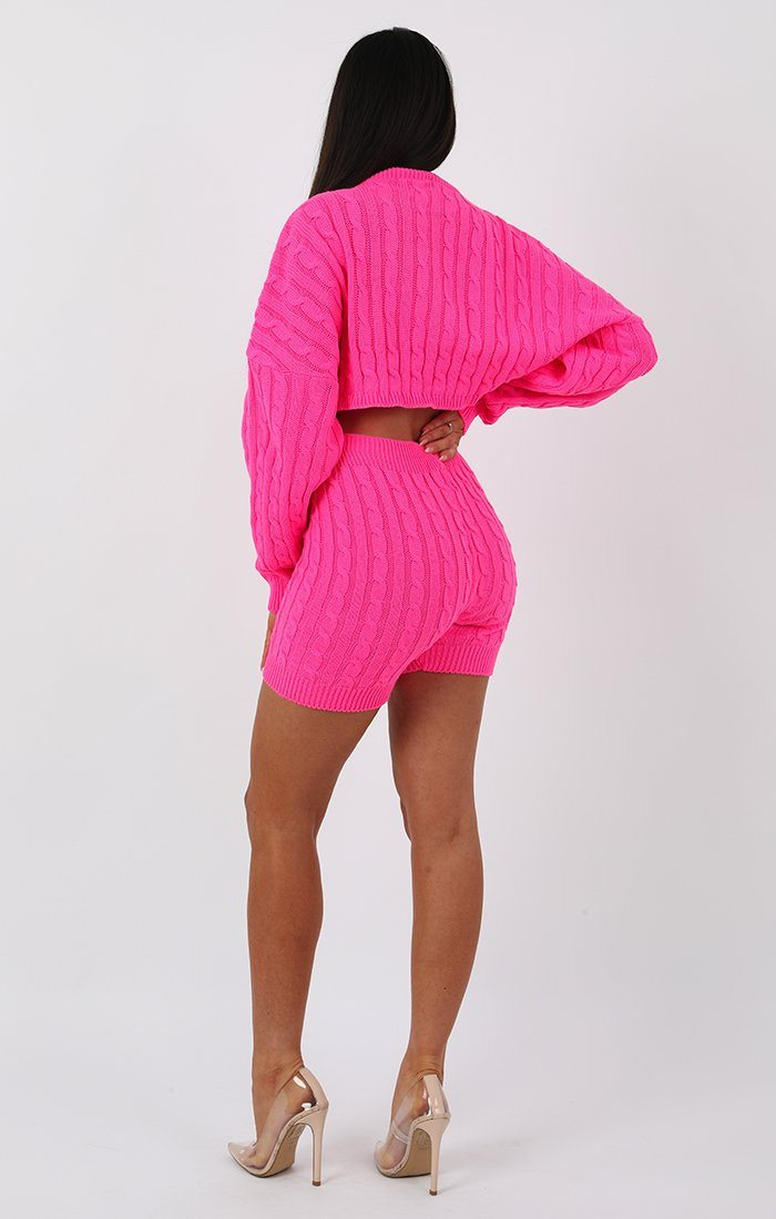 Neon Pink Knit Crop Jumper and Shorts Loungewear - Perina