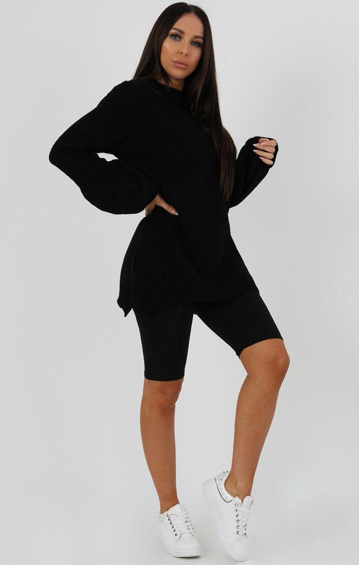 Black Oversized Split Side Knitted Jumper - Cat