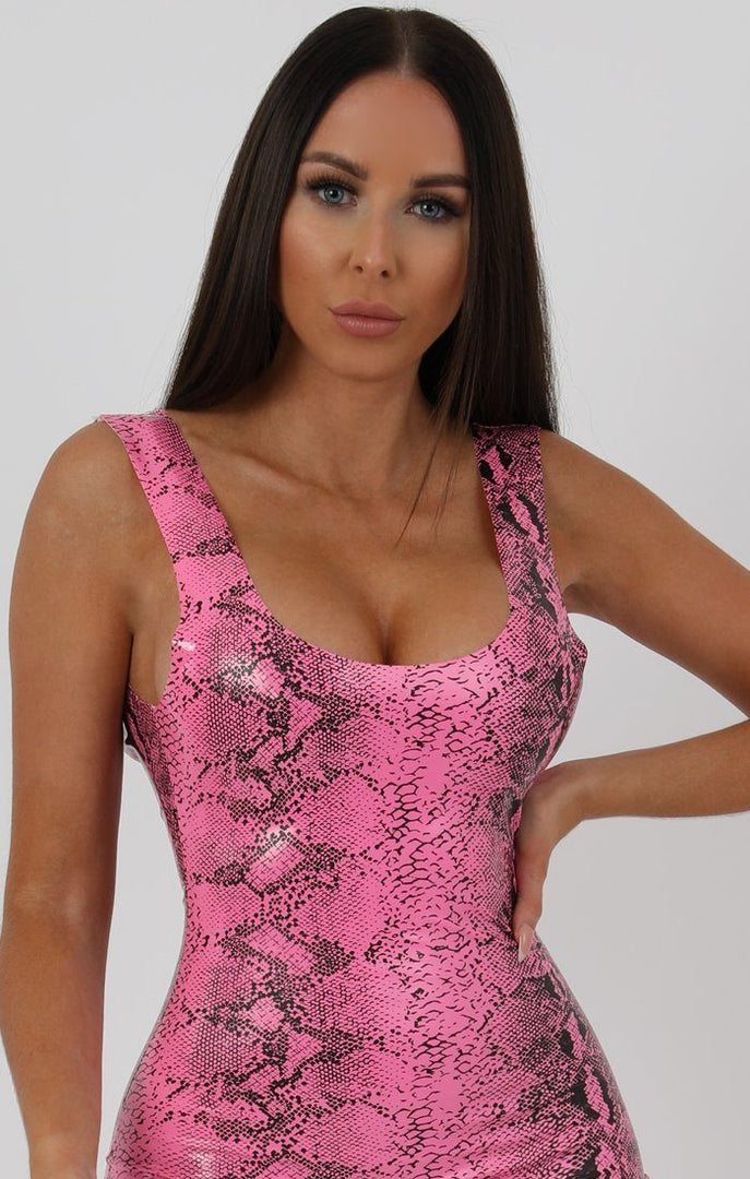 Hot Pink Animal Snake PU Open Back Bodycon Mini Dress - Tasha