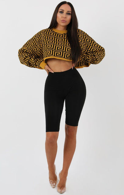 Mustard Black Long Sleeve Crop Jumper - Sienna