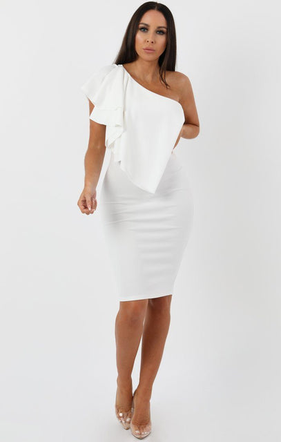 White Frill Overlay Bodycon Midi Dress - Piper