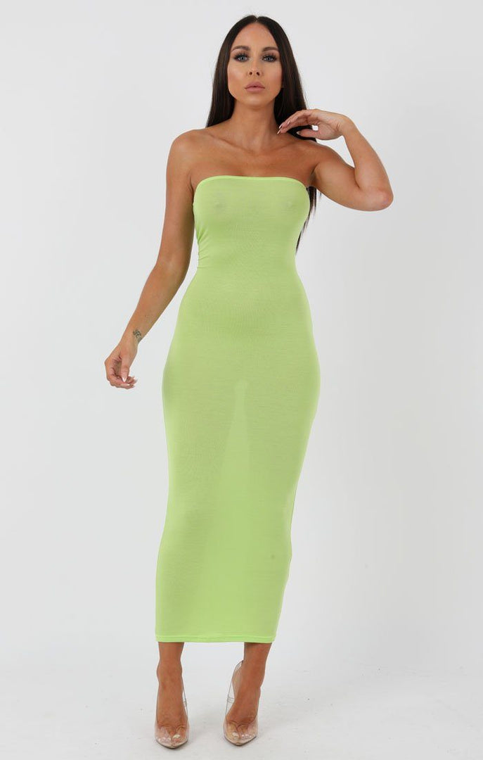Lime Bandeau Bodycon Midi Dress - Ariana
