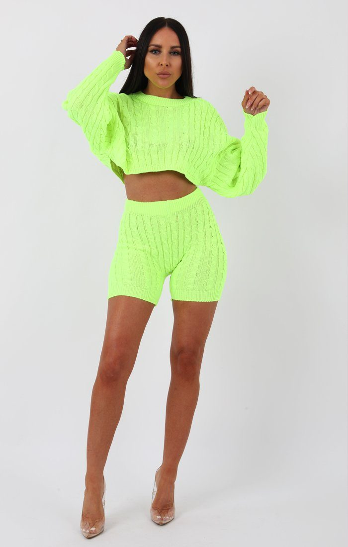 Lime Knit Crop Jumper and Shorts Loungewear - Perina Loungewear Femme Luxe
