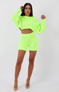 Lime Knit Crop Jumper and Shorts Loungewear - Perina
