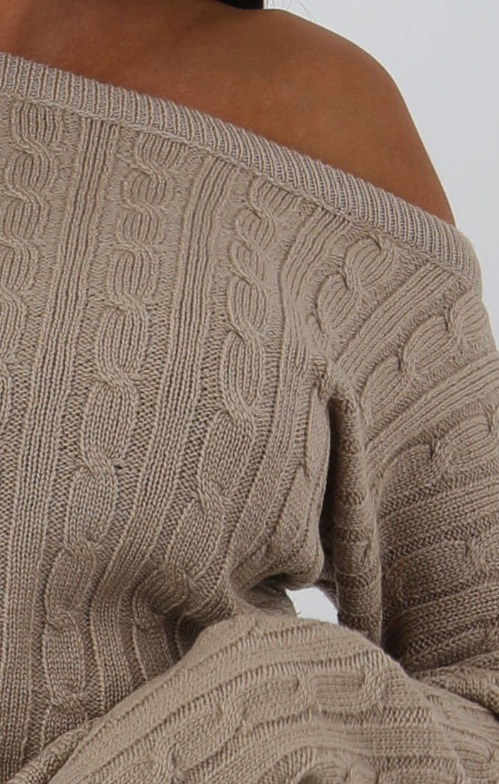 Stone Cable Knit Loungewear Set - Alison