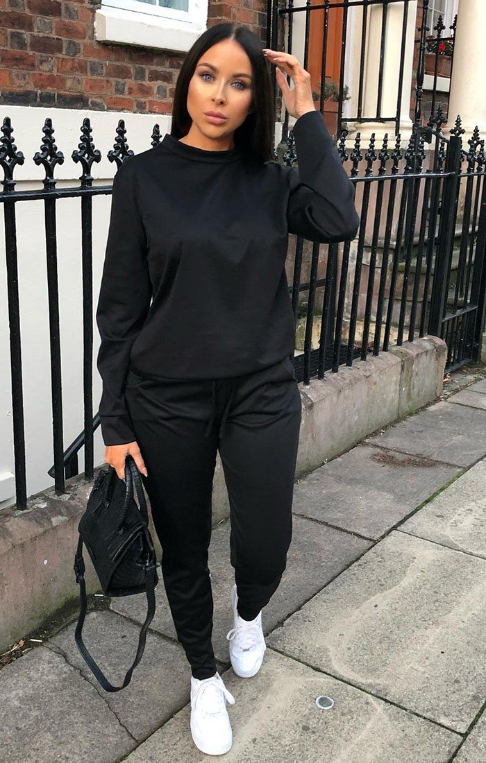 Black Long Sleeve Loungewear Set - Jinell loungewear FemmeLuxe