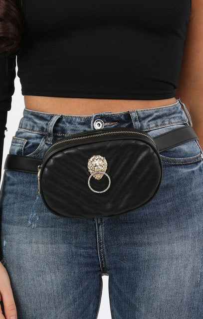 Black Quilted Lion Head Belt Bag - Rosie