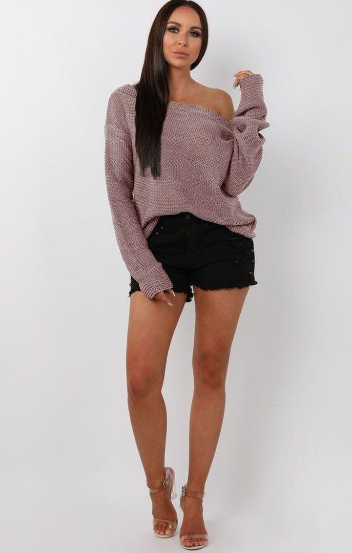 Dusky Pink Knitted Off Shoulder Jumper - Maria