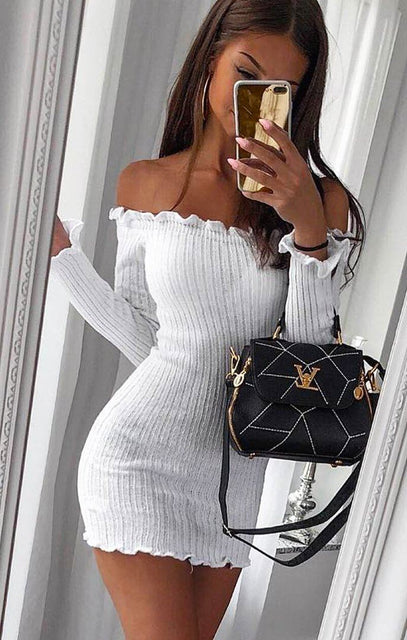 White Bardot Knitted Mini Dress - Carmen