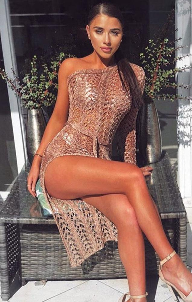 Metallic Knit Rose Gold One Shoulder Maxi Dress