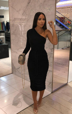 Black Ruched Dresses