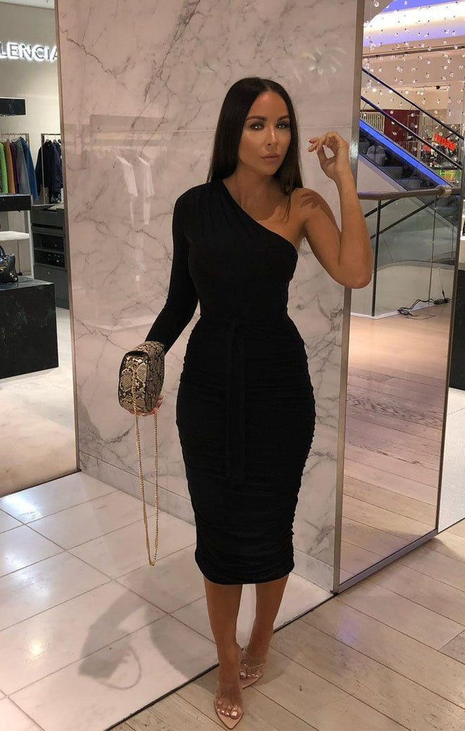 Black One Shoulder Ruched Slinky Midi Dress - Savannah