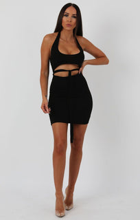 Black Halterneck Cut Out Tie Detail Bodycon Dress - Louisa