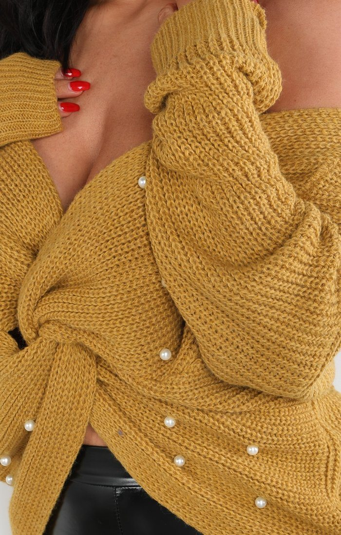 Mustard Pearl Front Wrap Knitted Jumper