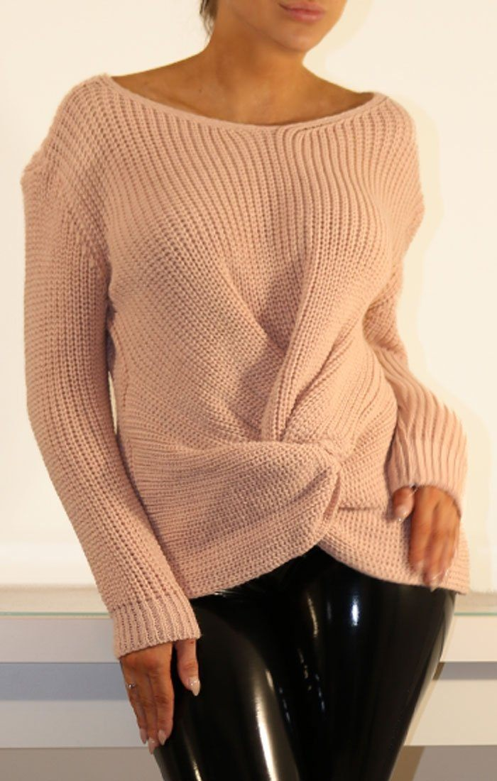 Rose Twisted Front Knitted Jumper