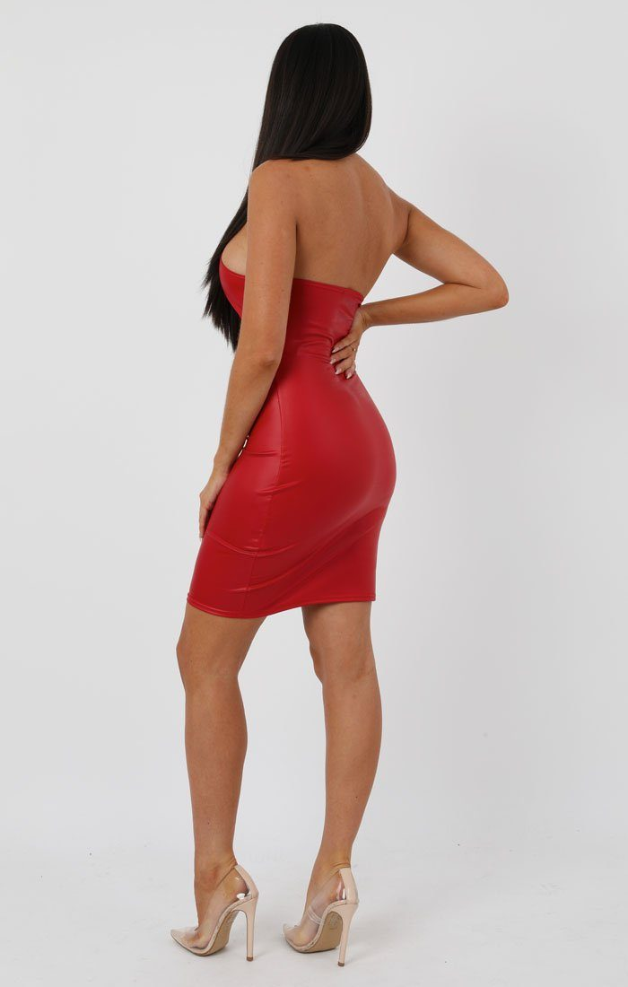 Red Faux Leather Knot Bodycon Mini Dress - Justine