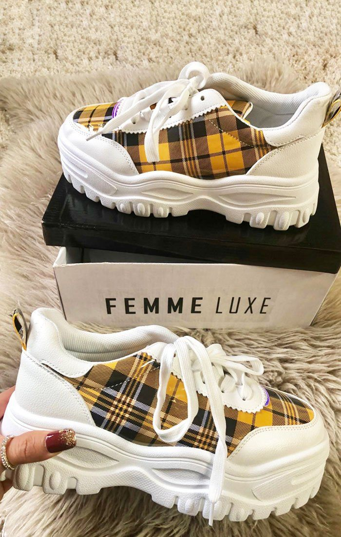 Yellow check Print Chunky Trainer - Jessi
