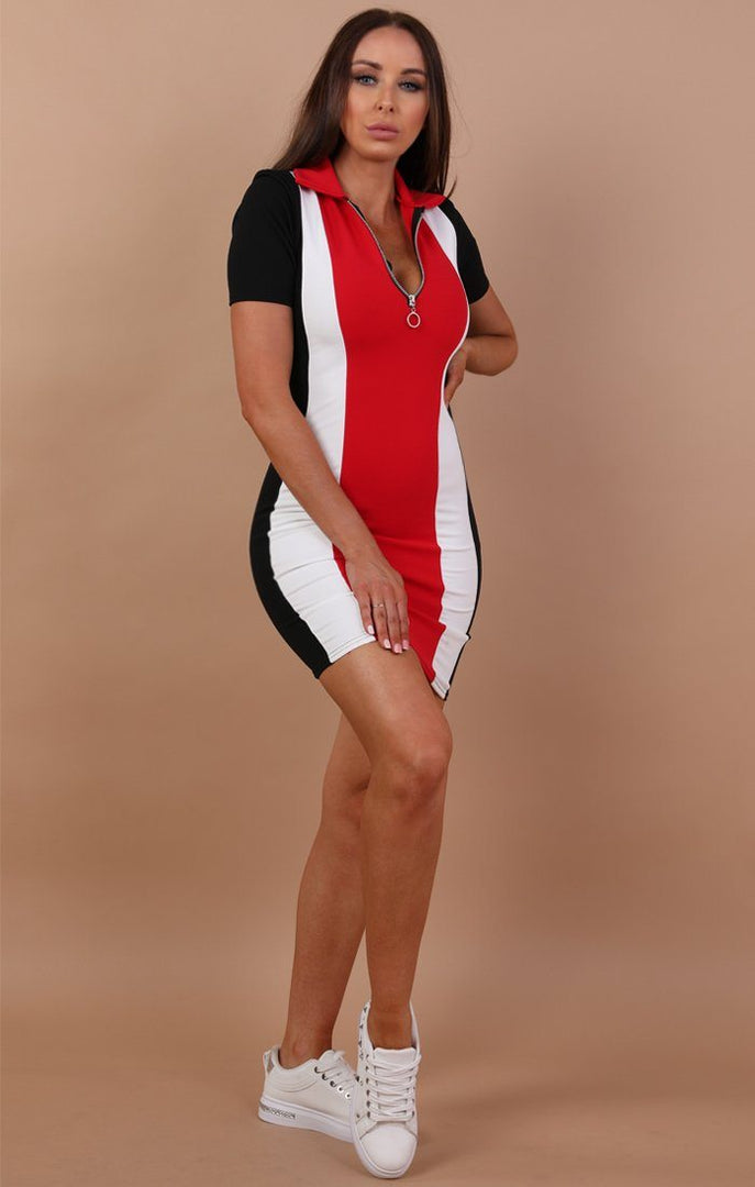 Black And Red Colour Contrast Dress - Felecia