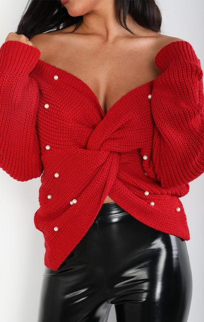 Red Pearl Front Wrap Knitted Jumper