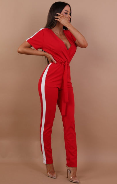 Red With White Stripe Jumpsuit - Montana
