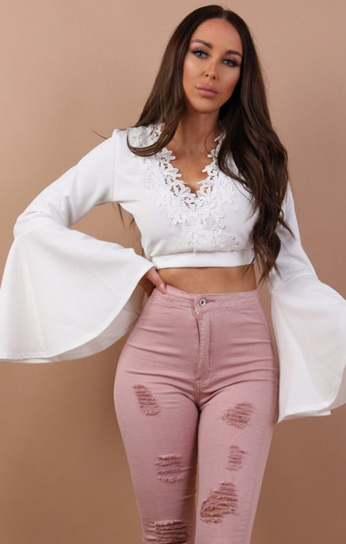 White Bell Sleeve Lace Detail Crop Top - Cass