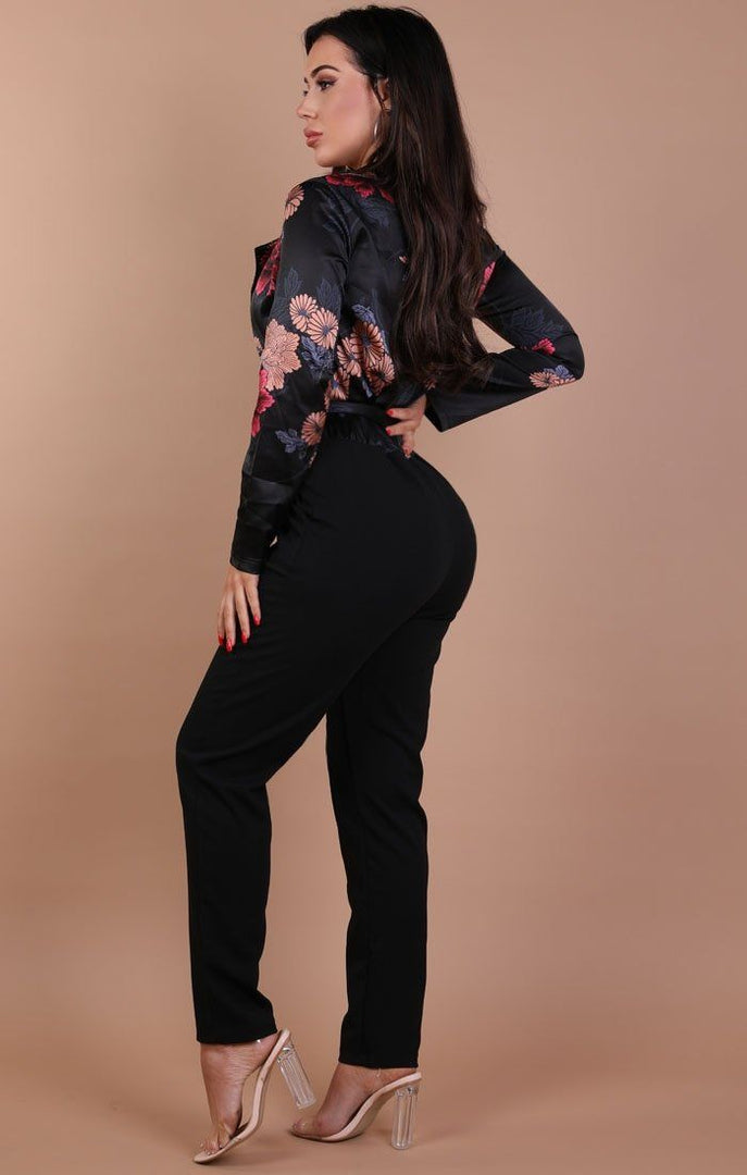 Black Floral Satin Tie up Jumpsuit