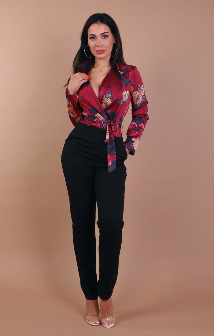 Wine Floral Satin Tie Up Jumpsuit – Hayley