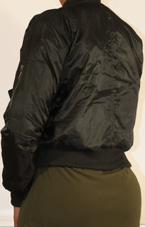Black Padded Bomber Jacket